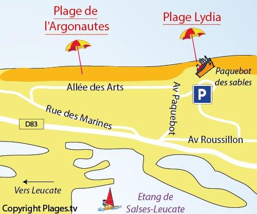 Map of Argonautes Beach in Port Barcarès