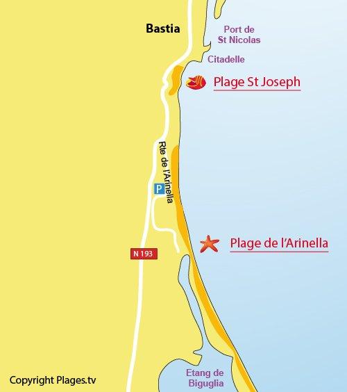 Mappa della Spiaggia dell'Arinella a Bastia