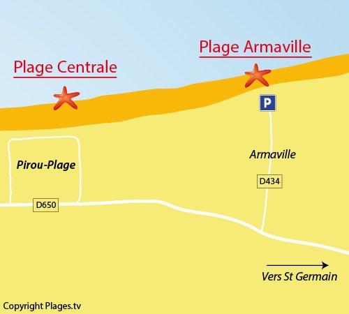 Carte de la plage d'Armanville à Pirou