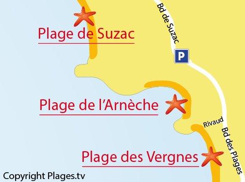 Carte de la plage de l'Arnèche à Meschers sur Gironde