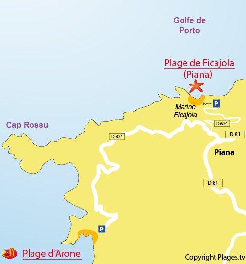 Map of Arone Beach in Piania in Corsica