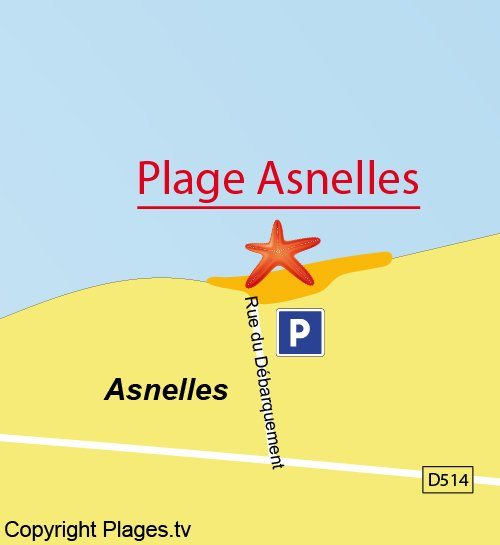 Carte de la plage d'Asnelles - Normandie