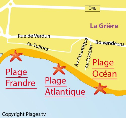 Map of Atlantique Beach in La Tranche