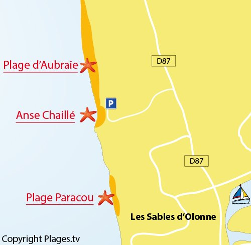 Map of the Aubraie Beach in Sables d'Olonne