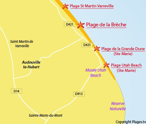 Carte de la plage d'Audouville la Hubert