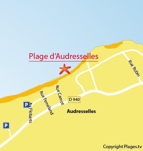 Carte de la plage d'Audresselles