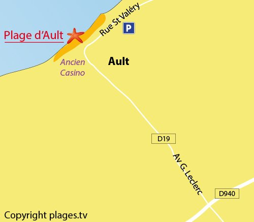 Map of Ault beach in France