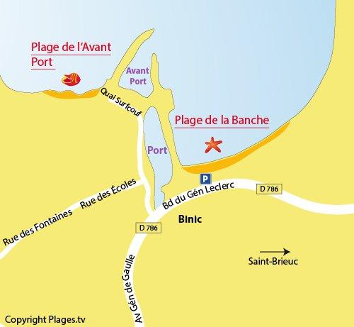 Carte de la plage de l'Avant Port à Binic