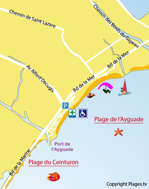 Map of Ayguade - St Louis Beach in Hyères