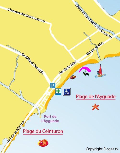 Plan de la plage de l'Ayguade à Hyères