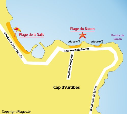 Map of Bacon Beach in Cap d'Antibes