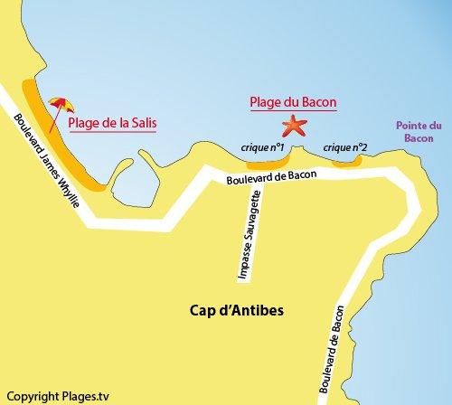 Carte de la plage du Bacon au Cap d'Antibes