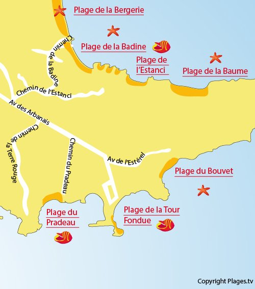 Map of Badine Beach on the Peninsula of Giens - Hyeres