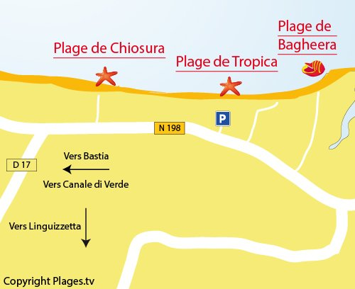Map of Bagheera Beach in Linguizzetta - Corsica