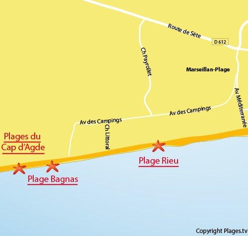 Carte de la plage de Bagnas à Marseillan - Cap d'Agde