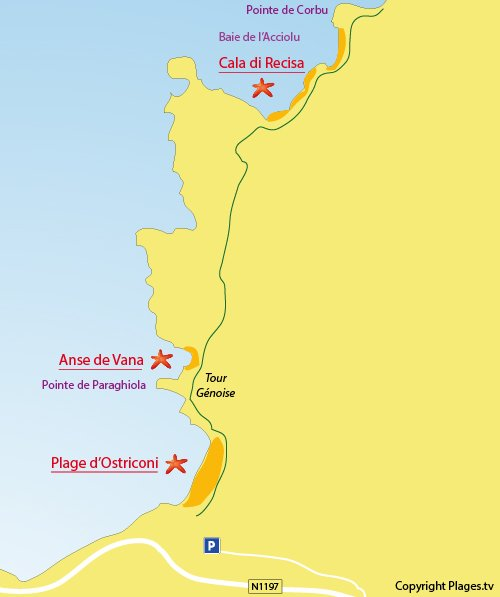 Map of beach in Acciolu bay - Corsica