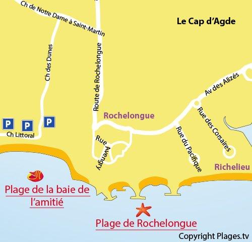 Map of the Baie de l'Amitié Beach in Cape d'Agde