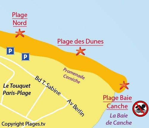 Carte de la plage de la baie de Canche - Le Touquet
