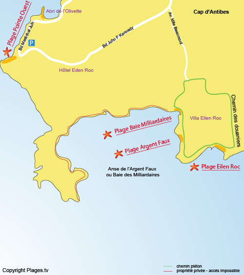 Map of Baie des Milliardaires Beach in Cap d'Antibes