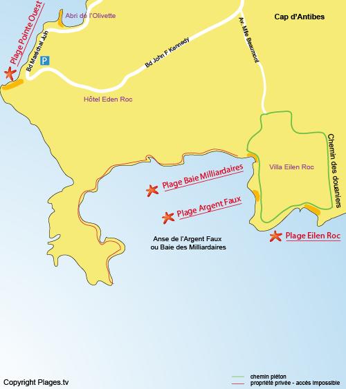 Mappa della spiaggia della Baia dei Miliardari  di Cap d'Antibes