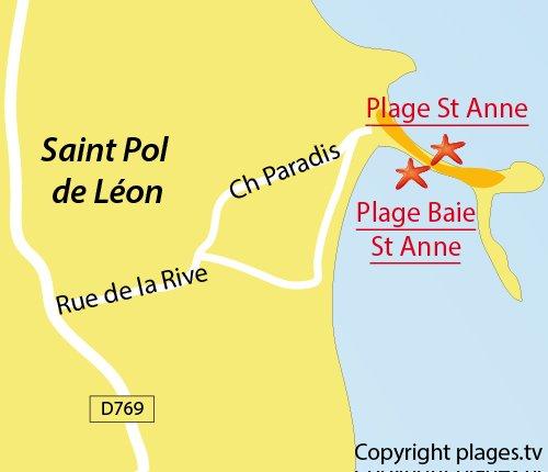 Carte de la plage dans la baie de Ste Anne à St Pol de Léon