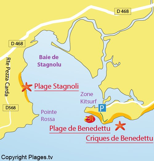 Carte de la plage dans la baie de Stagnolu à Porto Vecchio
