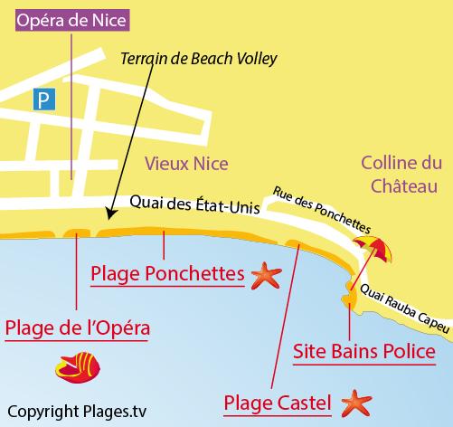 Mappa Sito Bains de la Police a Nizza - Francia