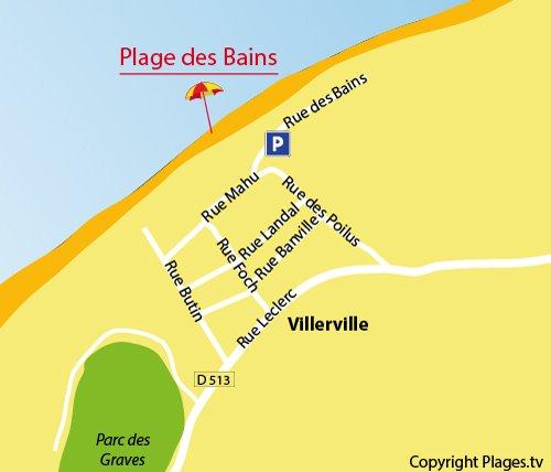 Carte de la plage de Villerville