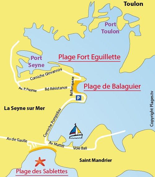 Carte de la plage de Balaguier à La Seyne sur Mer