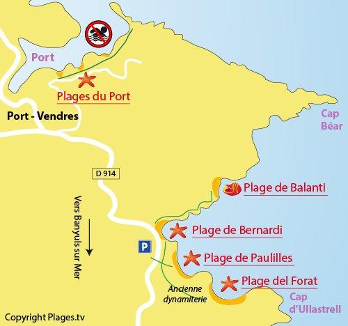 Carte de la plage de Balanti à Port Vendrès