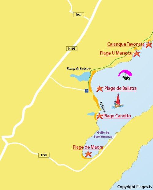 Carte de la plage de Balistra à Bonifacio