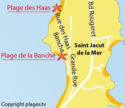 Carte de la plage de la Banche à St Jacut de la Mer
