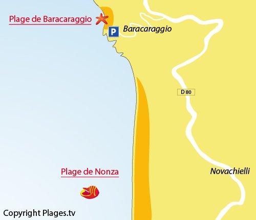 Carte de la plage de Baracaraggio à Nonza (Cap Corse)