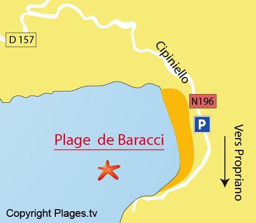 Map of Baracci Beach in Olmeto