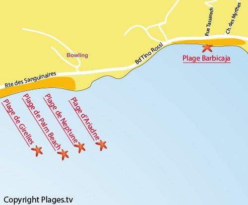 Plan de la plage de Barbicaja à Ajaccio