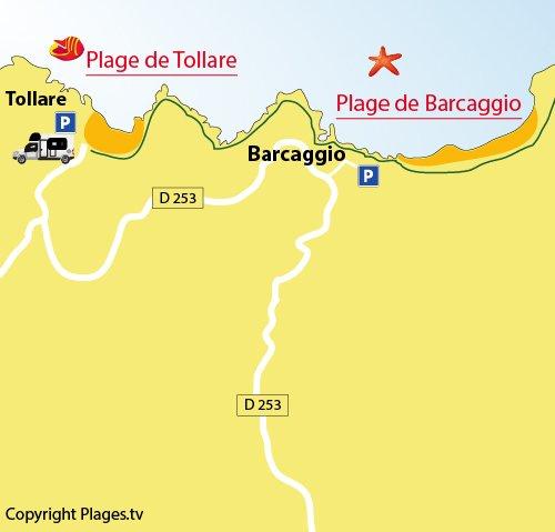 Carte de la plage de Barcaggio dans le Cap Corse