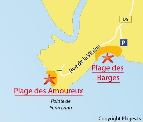 Carte de la plage des Barges à Billiers