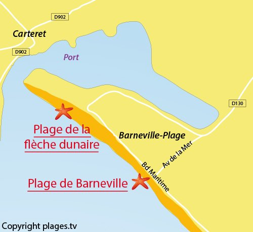 Map of Barneville Beach - France