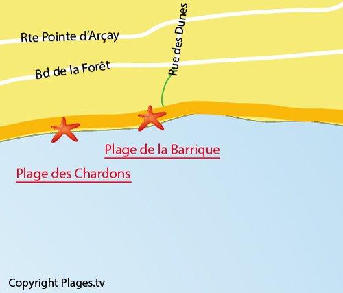 Plan de la plage de la Barrique à La Faute sur Mer