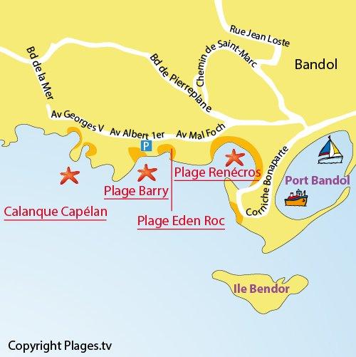 Mappa Spiaggia Barry a Bandol
