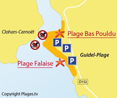 Carte de la plage du Bas Pouldu à Guidel