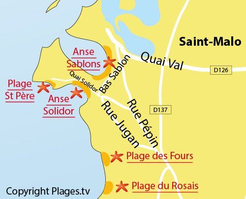 Map of the Bas Sablons Beach in St Malo