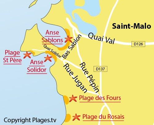 Mappa della spiaggia Bas Sablons a Saint Malo