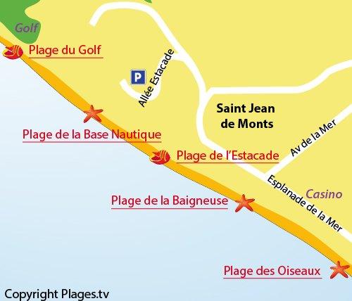 Carte de la plage de la Base Nautique de St Jean de Monts