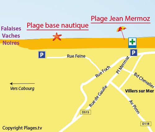 Map of Base Nautique Beach in Villers sur Mer