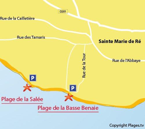 Map of Basse Benaie Beach in Sainte-Marie-de-Ré in France