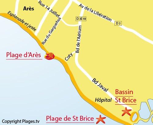 Plan de la plage du Bassin de St Brice à Arès