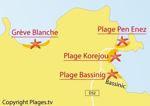 Carte de la plage de Bassinig à Plouguerneau