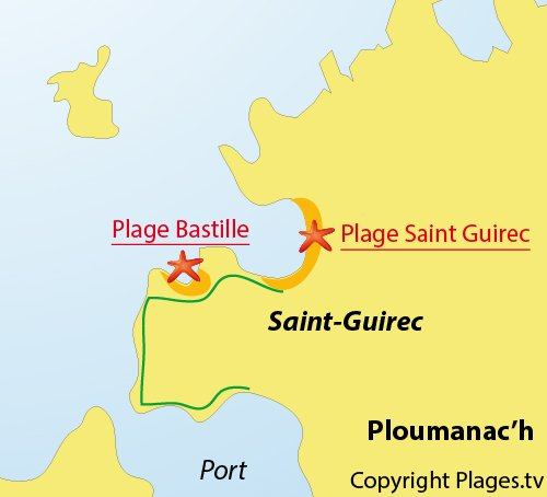 Map of Bastille Beach in Ploumanac'h