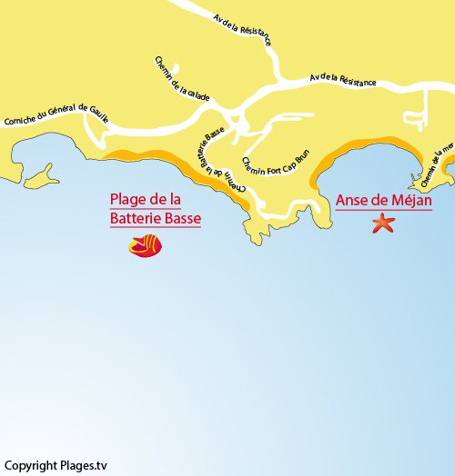 Map of Batterie Basse Beach in Toulon